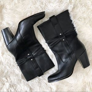 Seychelles Black Leather Heeled Mid Calf Boots 8.5